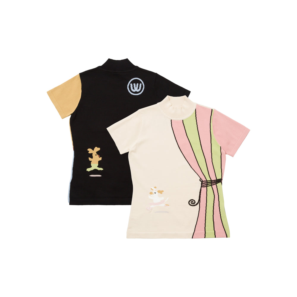 【20MSS-03】Intarsia short sleeve summer knit