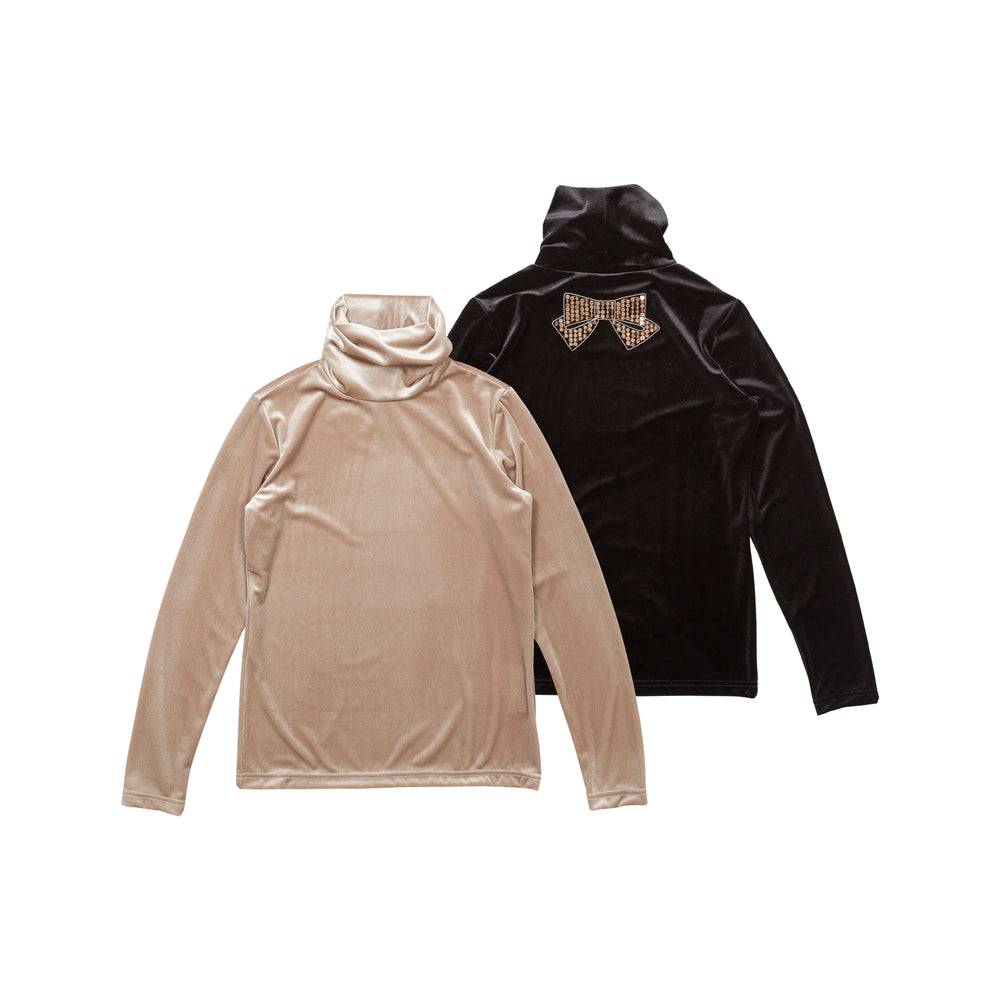 【80639】Stretch velour pullover