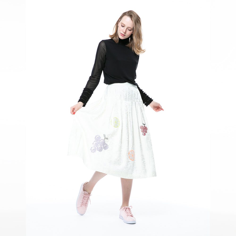 【6626】sequin fruit motif skirt (40%OFF)