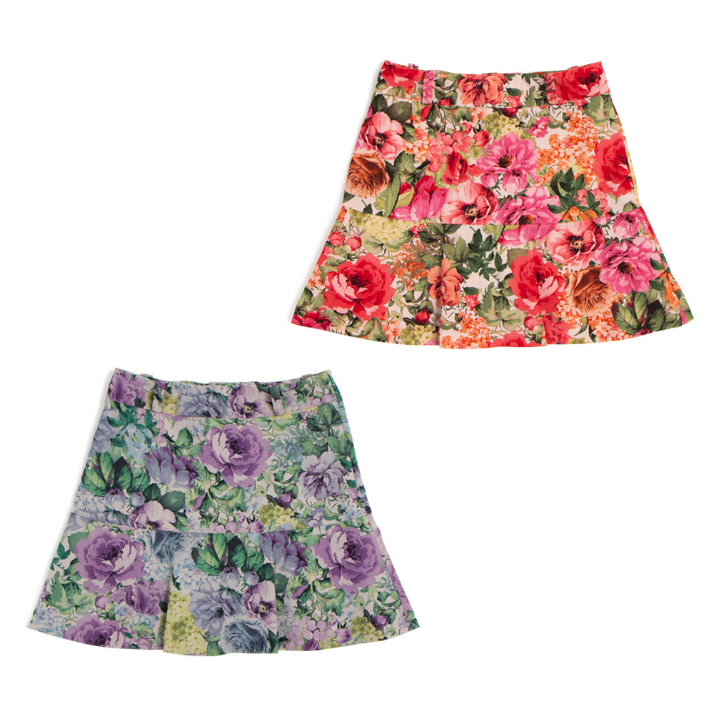 [6637] Flower print flared skirt (30% off)