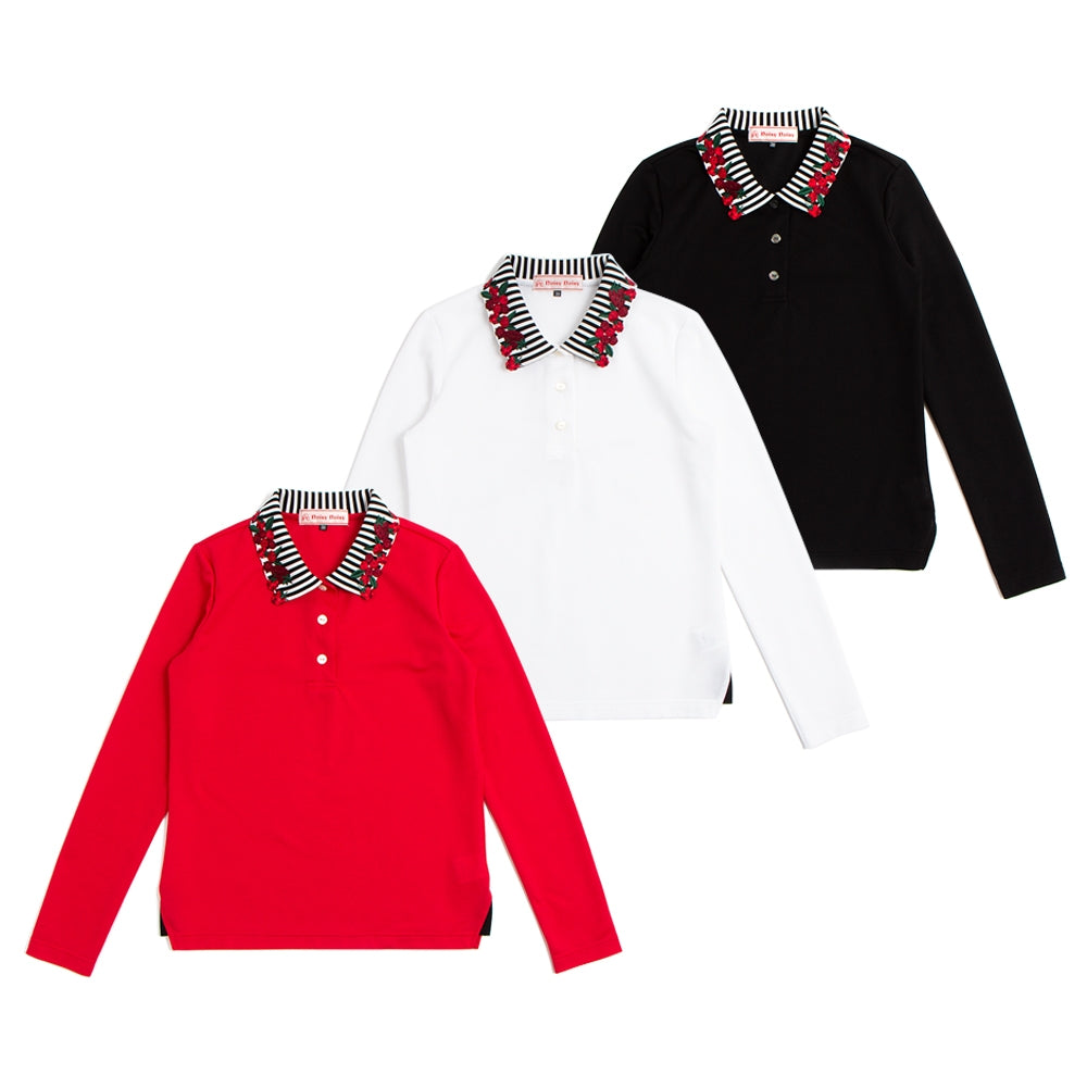 【80432】long sleeve polo shirt of berry collar