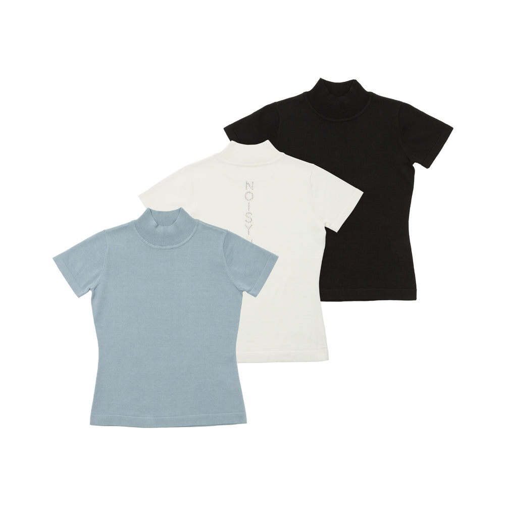 【80595】Back Swarovski short sleeve summer knit
