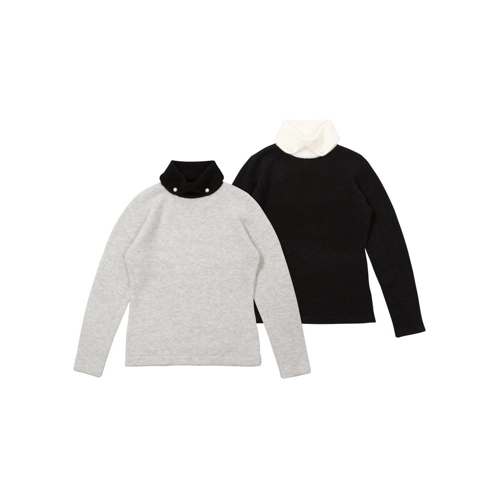 new【80628】 Sweater with pearl buttons