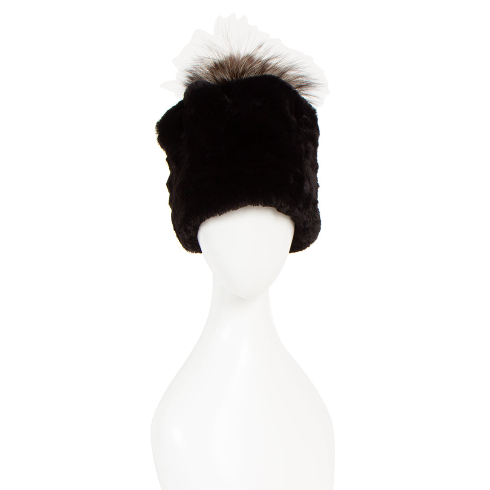 [90138-BLK] hat with silver fox bonbon