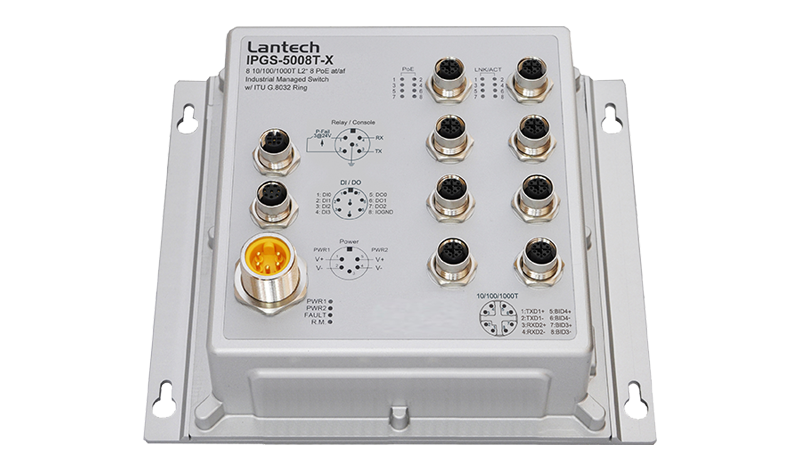 Lantech Switch PoE Manageable EN 50155 IPGS-5008T