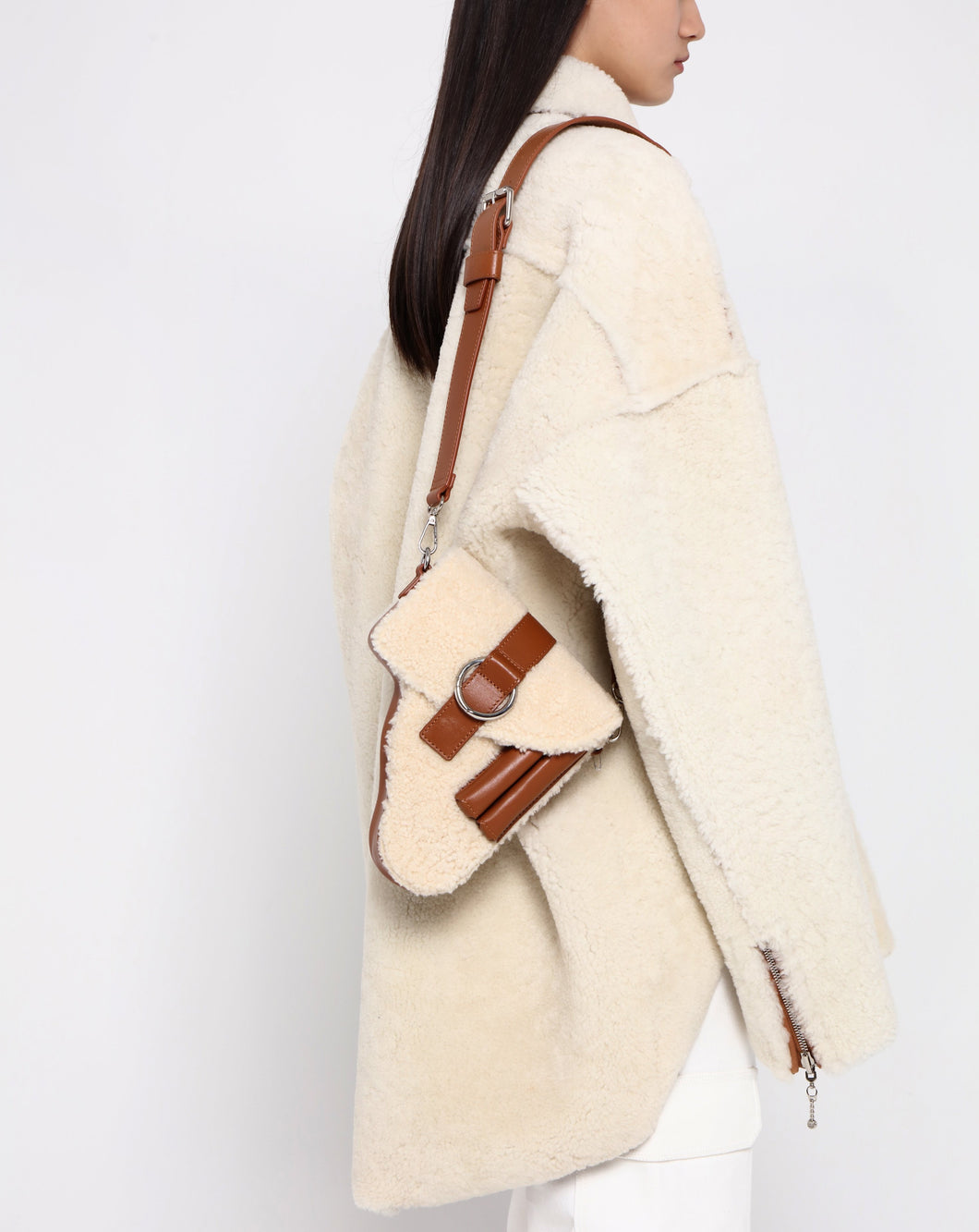 Brown Shearling Leather Multi Purpose Bag