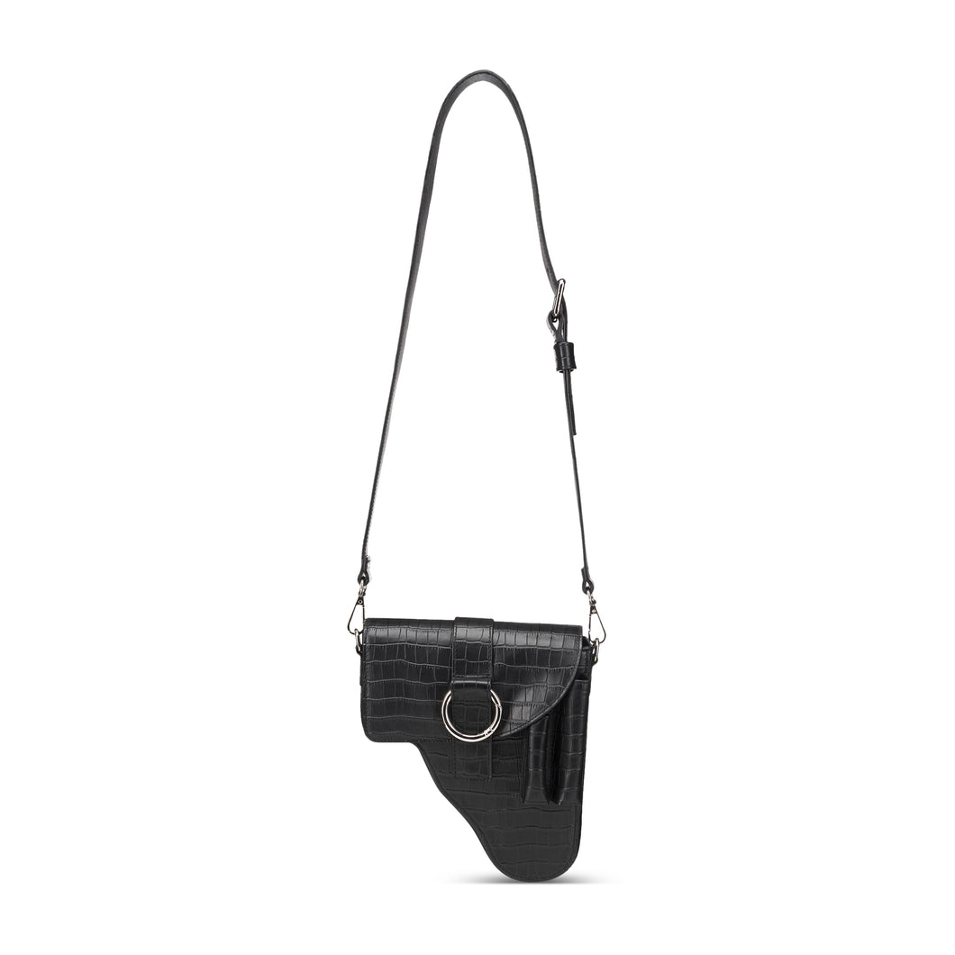 Black Leather Multi Purpose Bag