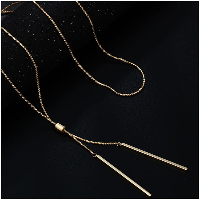 Long Necklaces For Women Gold Tassel Pendant Sweater Necklace