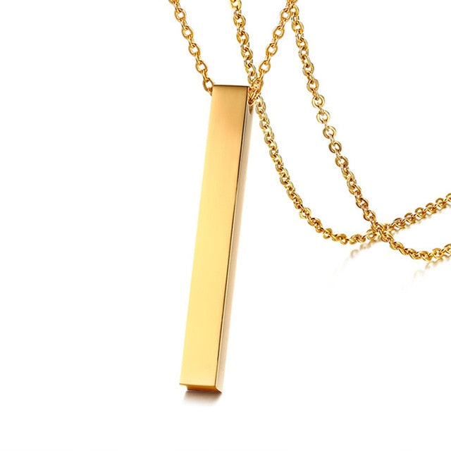 Long Bar Vertical  Stainless Steel Necklace For Men Women