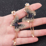 Pearl  Embroidery Butterfly Crystal Long Tassel Drop Dangle Earrings