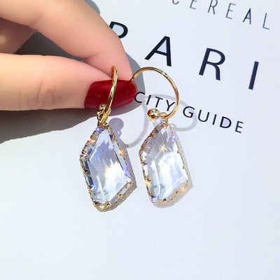 Geometric Crystal Drop Statement  Earrings for Women