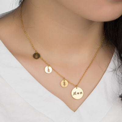 Classic Trendy MOM Daughter Son Pendant Necklaces Women Choker