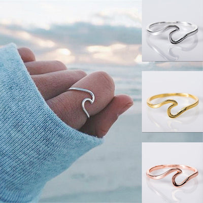 Simple White Gold Color Wave Rings for Women
