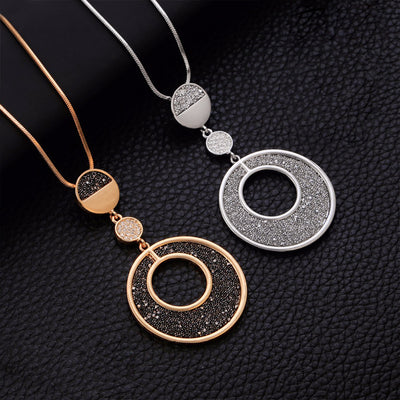Geometric Big Circle Black Crystal Pendant Long Necklace