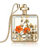 Flower Real Dry Glass Charms Pendant Necklace