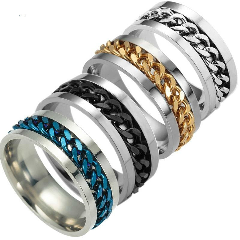 Titanium steel Black Chain Couple Silver Ring