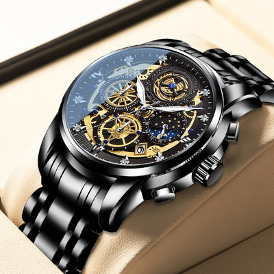 2021 New Casual Men's Watch  Stainless Steel Waterproof