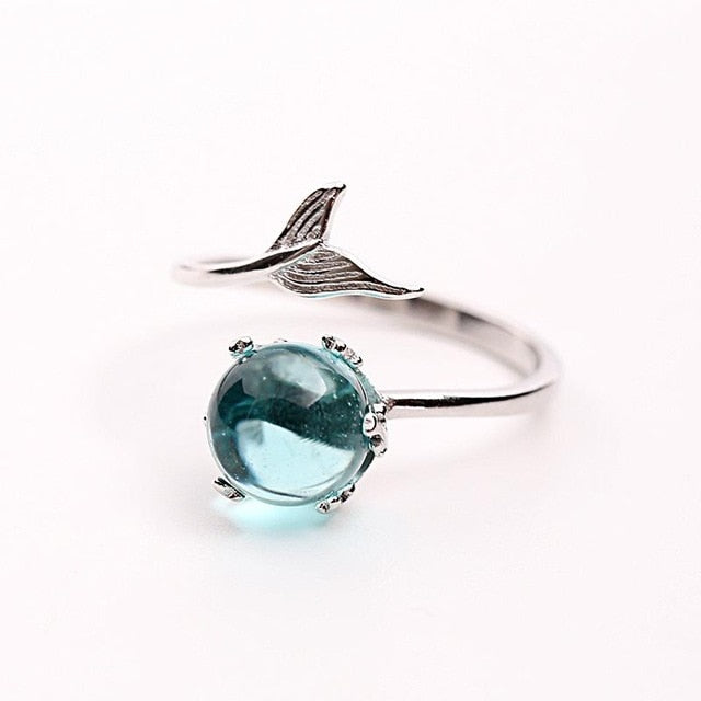925 Sterling Silver Blue Crystal Mermaid Bubble Open Rings