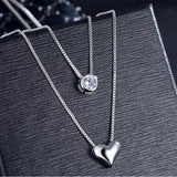Sterling Silver Double Layer Chain Zircon Heart Pendants Necklaces