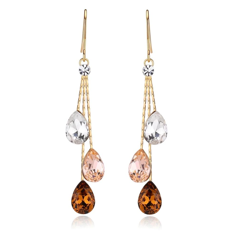 Three Water Crystals Drop Dangle Earrings