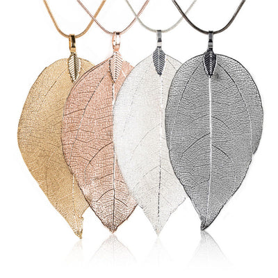 Special Leaves Leaf Long Chain Pendant Necklace