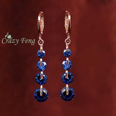 CZ Crystal Pierced Dangle Drop Earrings