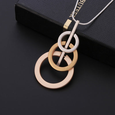 3 Circles Mix Colour Long Chain Pendant Necklace