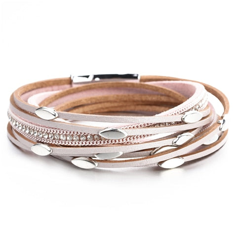 Pink Color Leather Bracelets