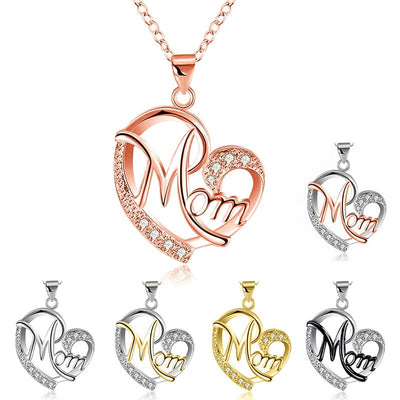 Fashion Letter MOM Heart Shape Inlaid Crystal Pendant Necklace