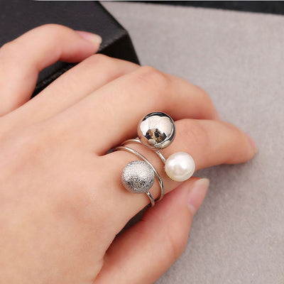 Simulated Pearl Adjustable Opening Rings with Metal Geometric Balls