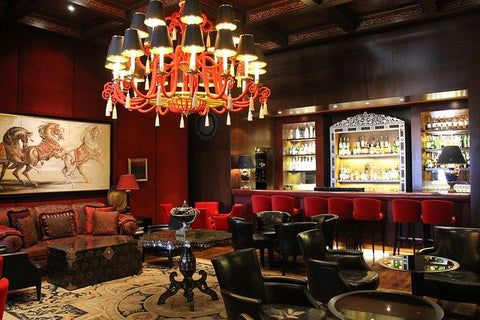 A Bar with Lounge Red Interior