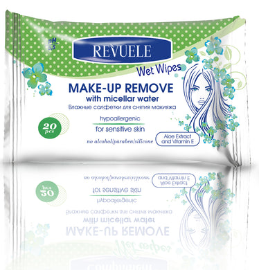REVUELE Wet wipes Makeup Remover hypoallergenic with micellarr water