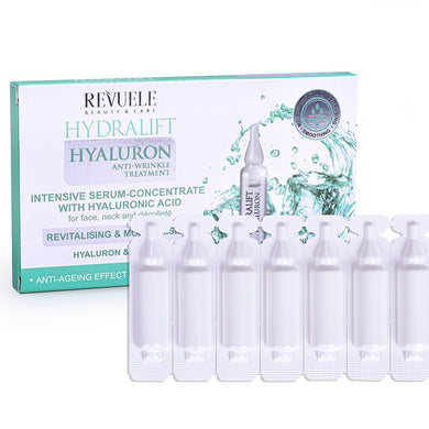 REVUELE Ampoules Hydralift Hyaluron Intensive serum-concentrate with Hyaluronic Acid for face, neck and décolleté
