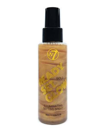 W7  Ready Set Glow - Illuminating Setting Spray Gold - districtglitz.com