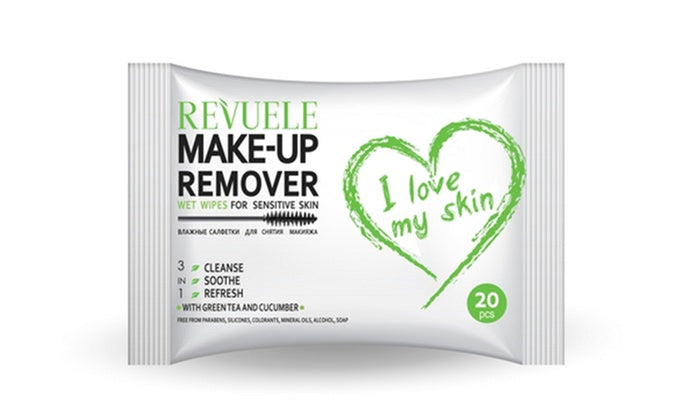 REVUELE Wet wipes Makeup Remover I Love My Skin for Sensitive skin with green tea and cucumber - districtglitz.com