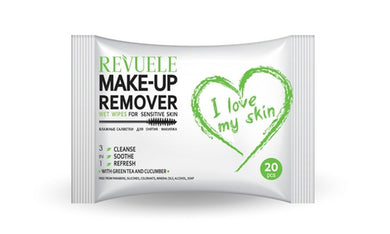REVUELE Wet wipes Makeup Remover I Love My Skin for Sensitive skin with green tea and cucumber