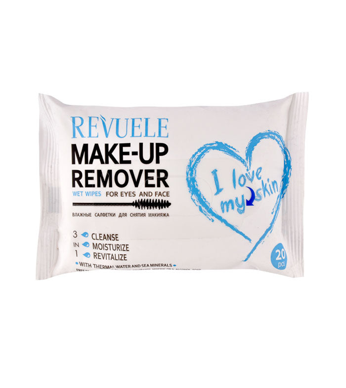 REVUELE Wet wipes Makeup Remover I Love My Skin for eyes and face with thermal water and sea minerals - districtglitz.com