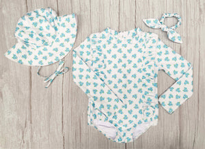 Blue Posy - Matching Bundle & Save (Swimsuit, Hat & Scrunchie)