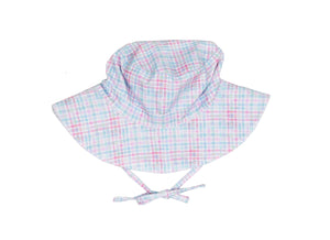 Girls Sun Hat in Rainbow Mini Check