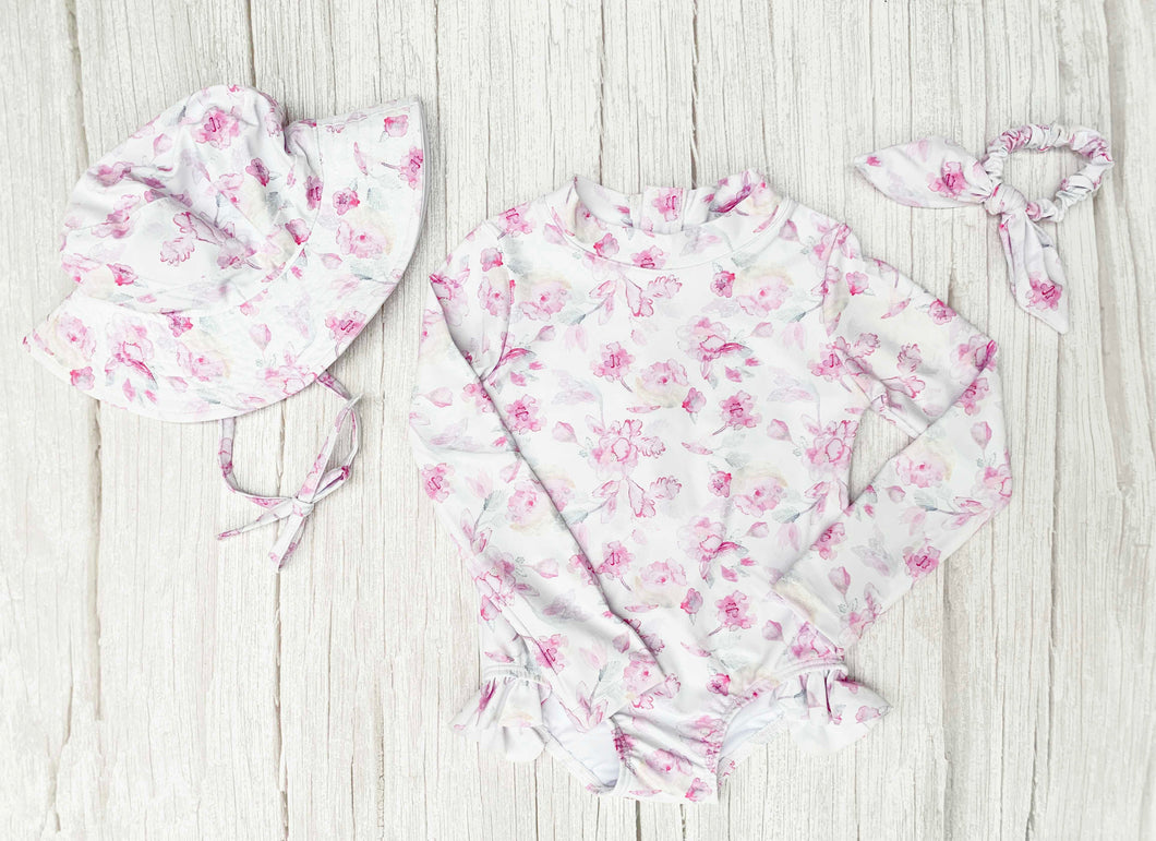 Peony Splash - Matching Bundle & Save (Swimsuit, Hat & Scrunchie)
