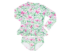 Girls swimsuit set in Pink Bloom