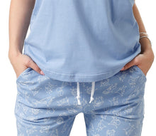 Load image into Gallery viewer, Pijama din bumbac, tricou cu maneca scurta si pantalon lung