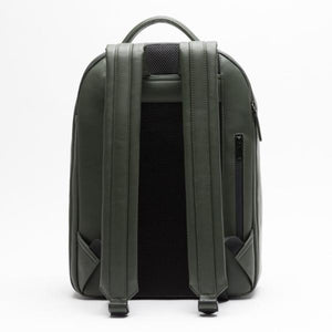 Stylish camera backpack green vegan leather