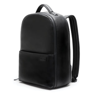 Stylish camera backpack black vegan leather, minimalistic