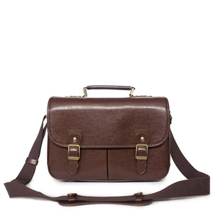 Vintage style camera satchel - dark brown
