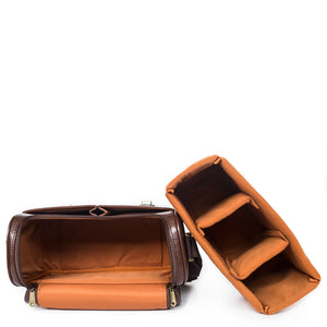 Vintage style leather camera bag - removable insert