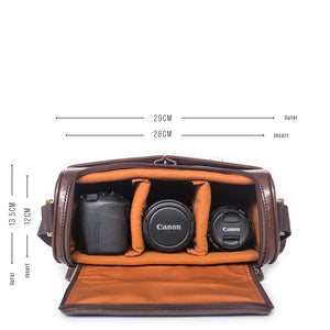Vintage style camera satchel for DSLR and camera lenses