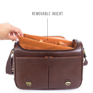Vintage style camera satchel with removable insert