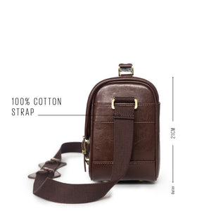 Vintage style camera satchel - side view, cotton strap