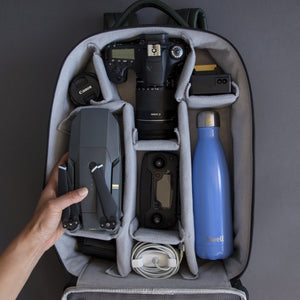 Camera backpack for DSLR and drone with removable compartments